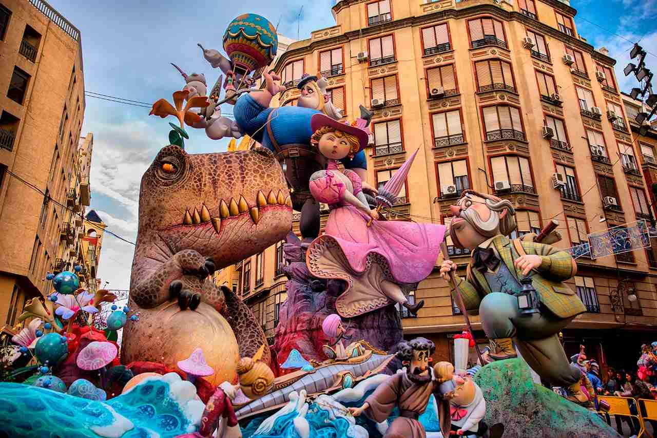 """The """"Fallas"""" is the name of the local holidays in Valencia, but also is the name of the Monument shown in every street of the city, from the 16th to 19th March. Monuments originally made in cardboard and wood, are now built in polystyrene and can have up to 30 m. high."""