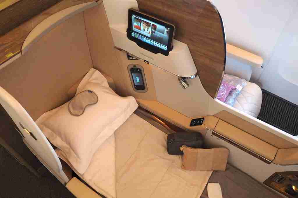 Emirates new 2-2-2 business class on the 777-200LR. Photo by Zach Honig.