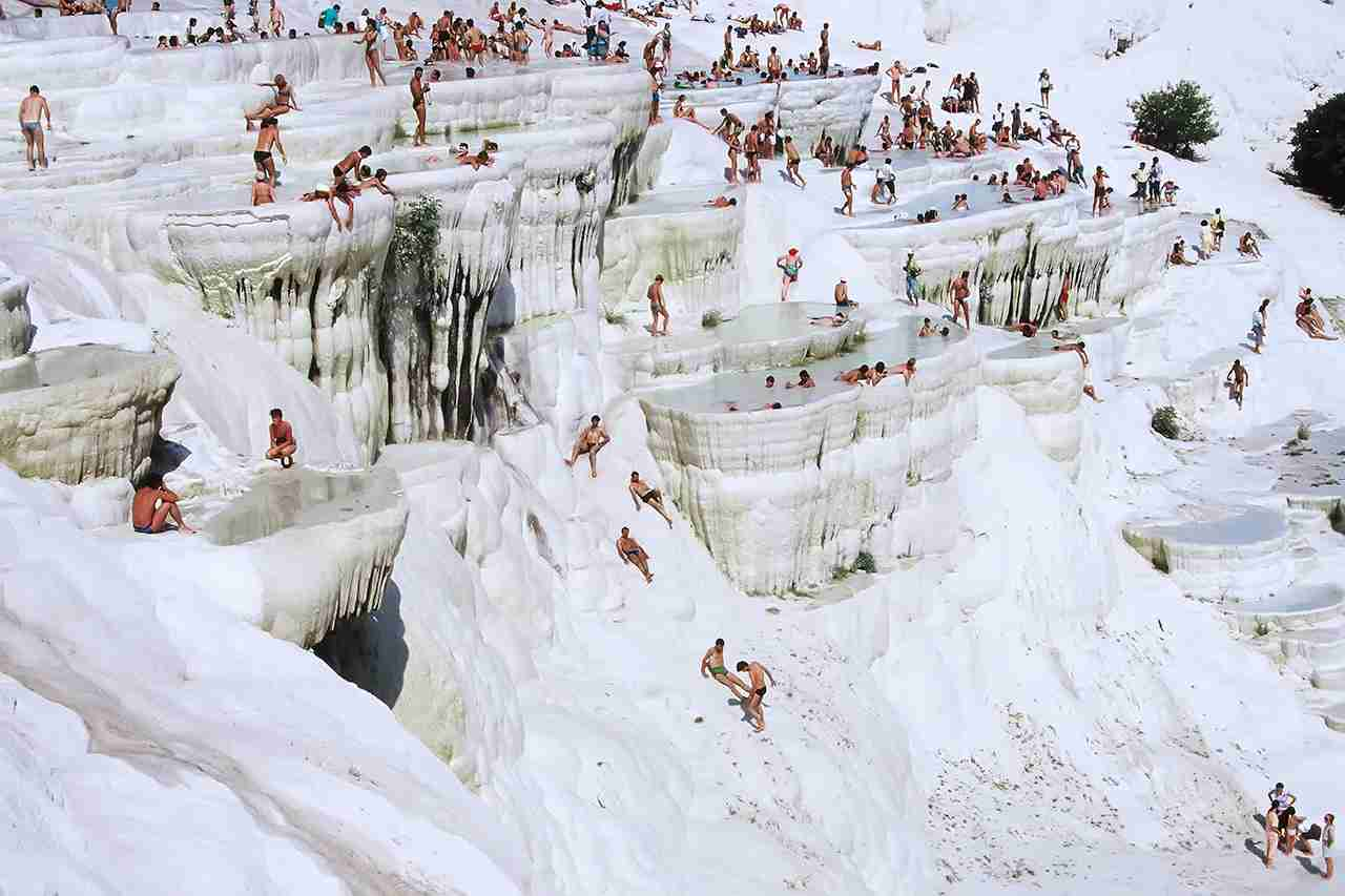 Pamukkale natural lakes in Hierapolis Turkey. (Photo by Nick Brundle Photography/Getty Images)