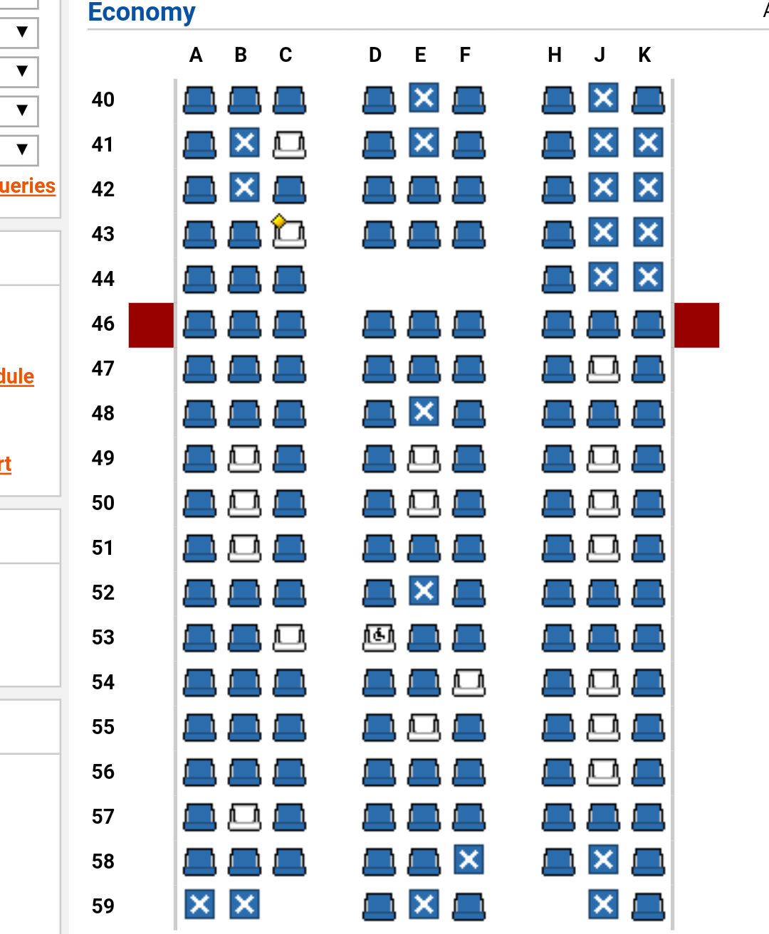ExpertFlyer seat map reflects all of the blocked economy seats.
