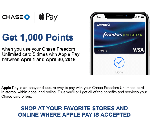 Quickly Earn 1 000 Bonus Points With Chase Cards Amp Apple Pay