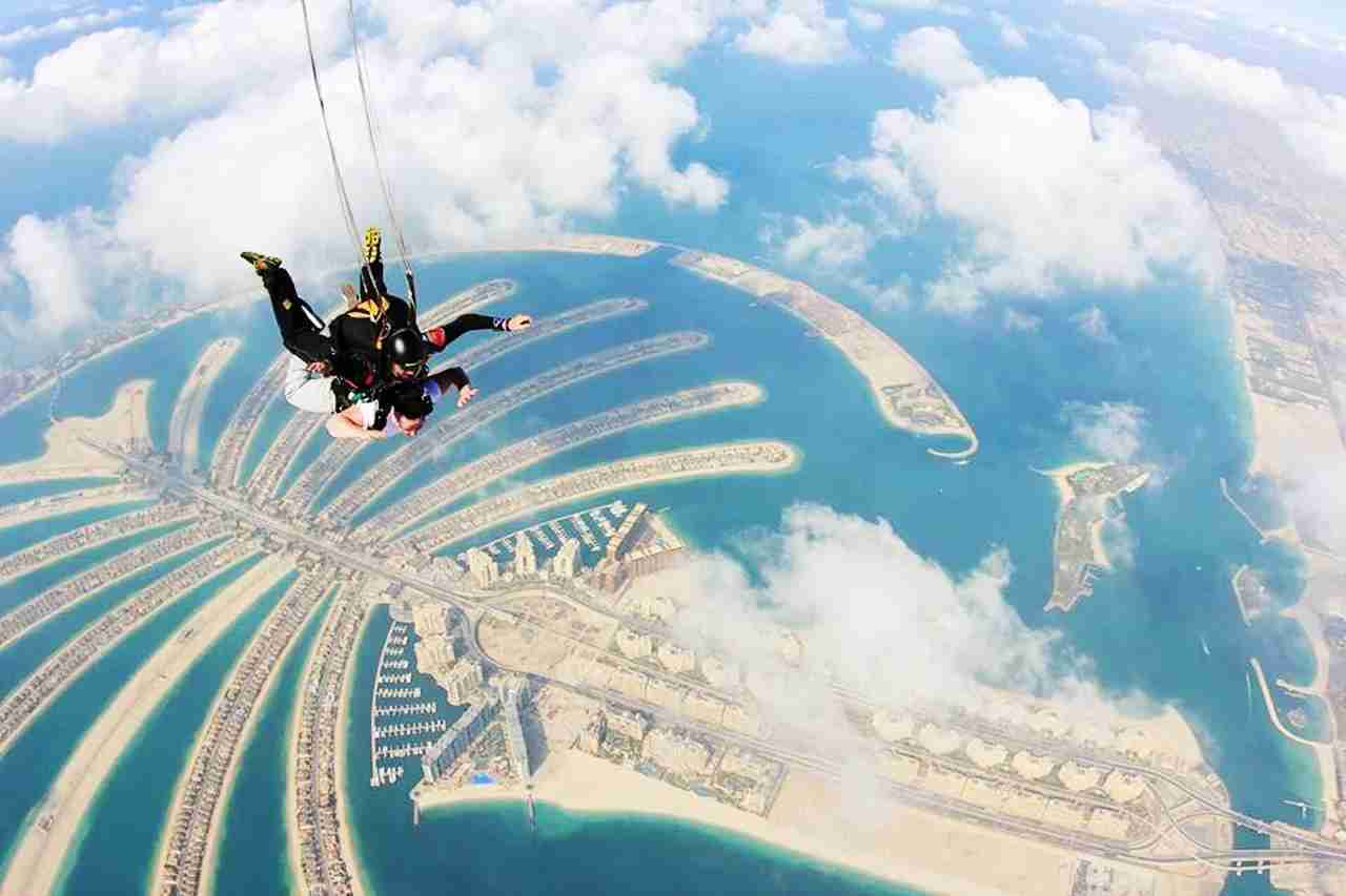 Skydiving over The Palm in Dubai. (Photo via @Prodrone via Twenty20)