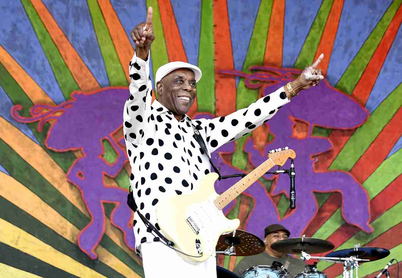 Buddy Guy performs during the 2017 New Orleans Jazz & Heritage Festival at Fair Grounds Race Course on May 7, 2017 in New Orleans, Louisiana. (Photo by Tim Mosenfelder/WireImage)