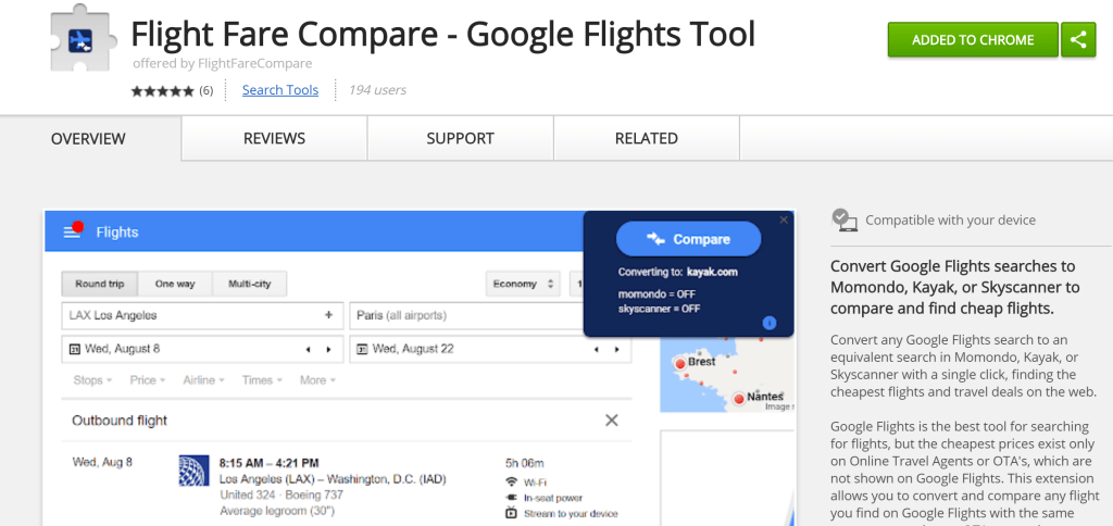 google flights browser extension makes price comparisons easy. Black Bedroom Furniture Sets. Home Design Ideas