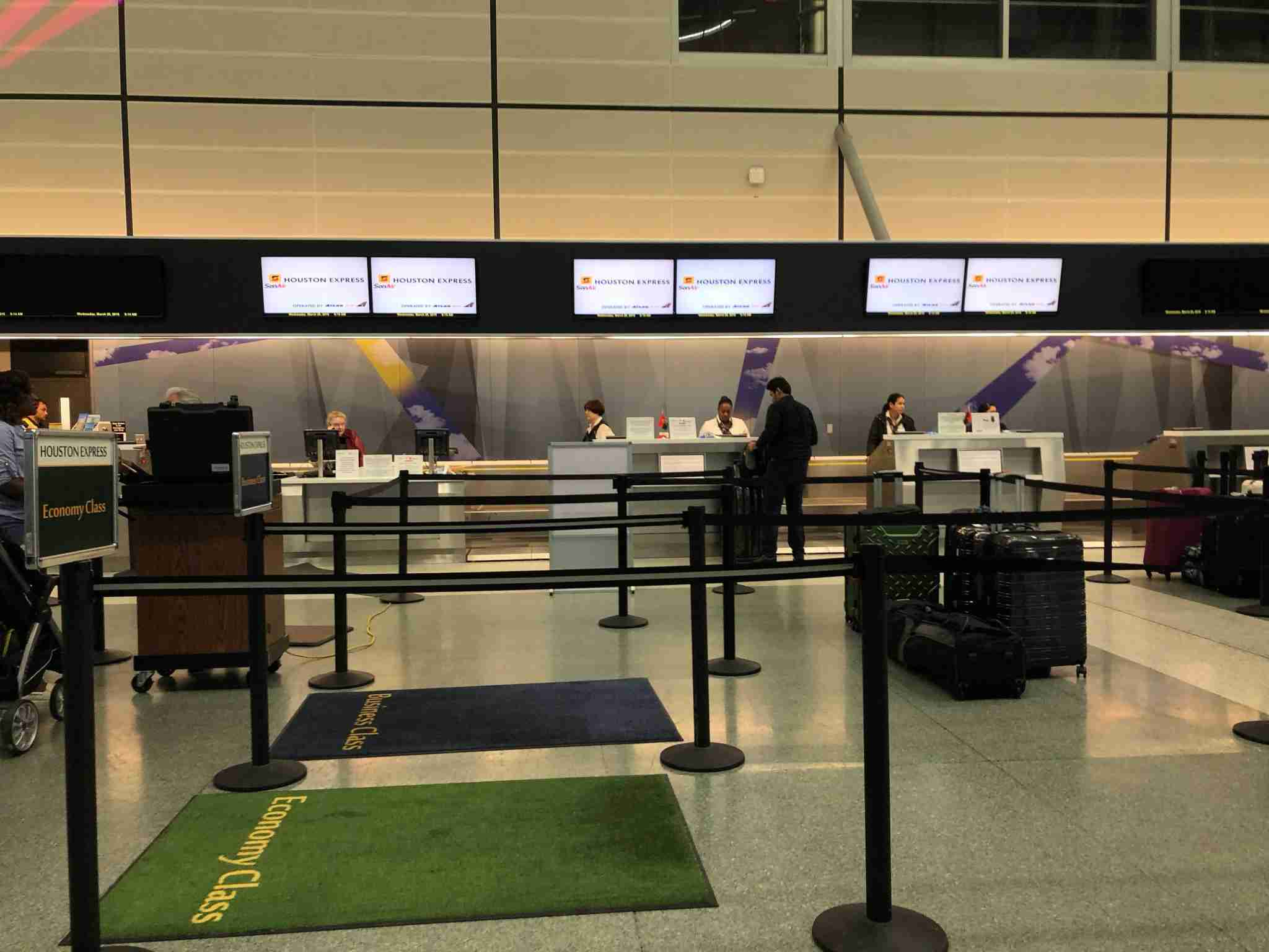 The check-in area for the Houston Express. It was pretty quiet when I checked.