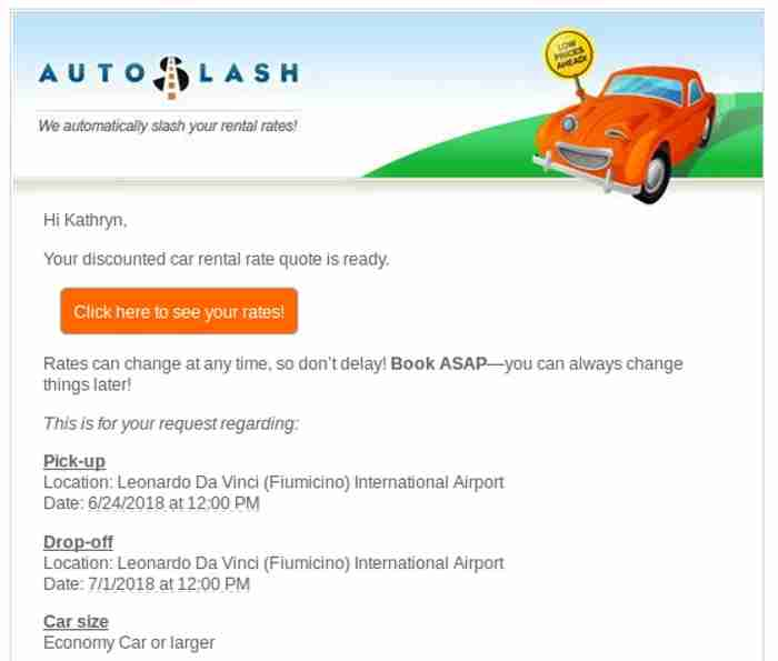 Emailed quote from AutoSlash