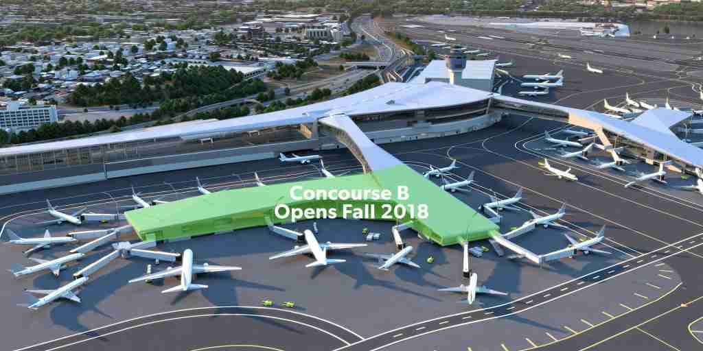 Concourse B, in green, will open Fall 2018 and be the world