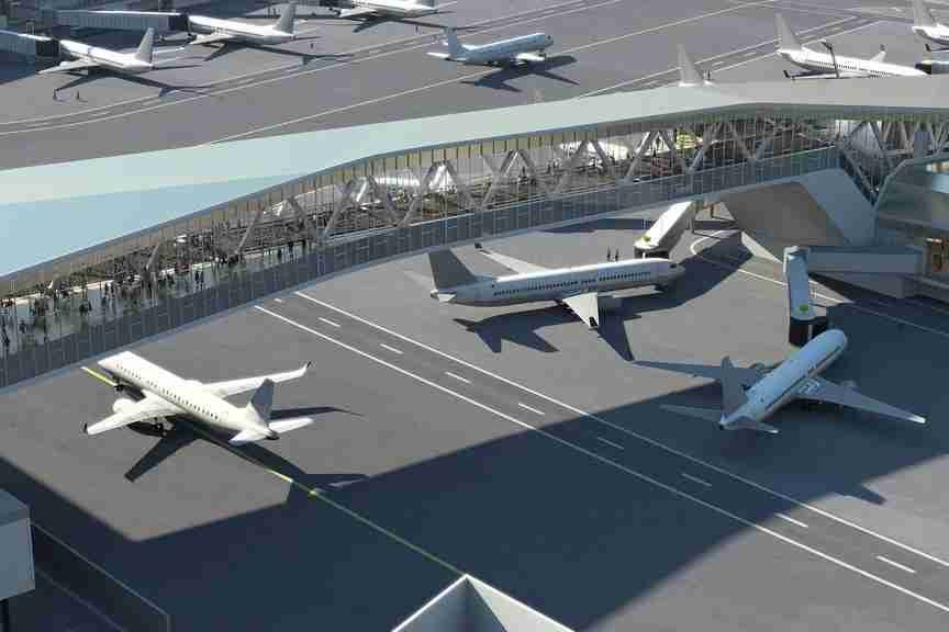 Above the ramp passageway to island concourse, where planes can transit underneath. This is adding 2 miles of additional taxiways at LGA. (Photo via PANYNJ)