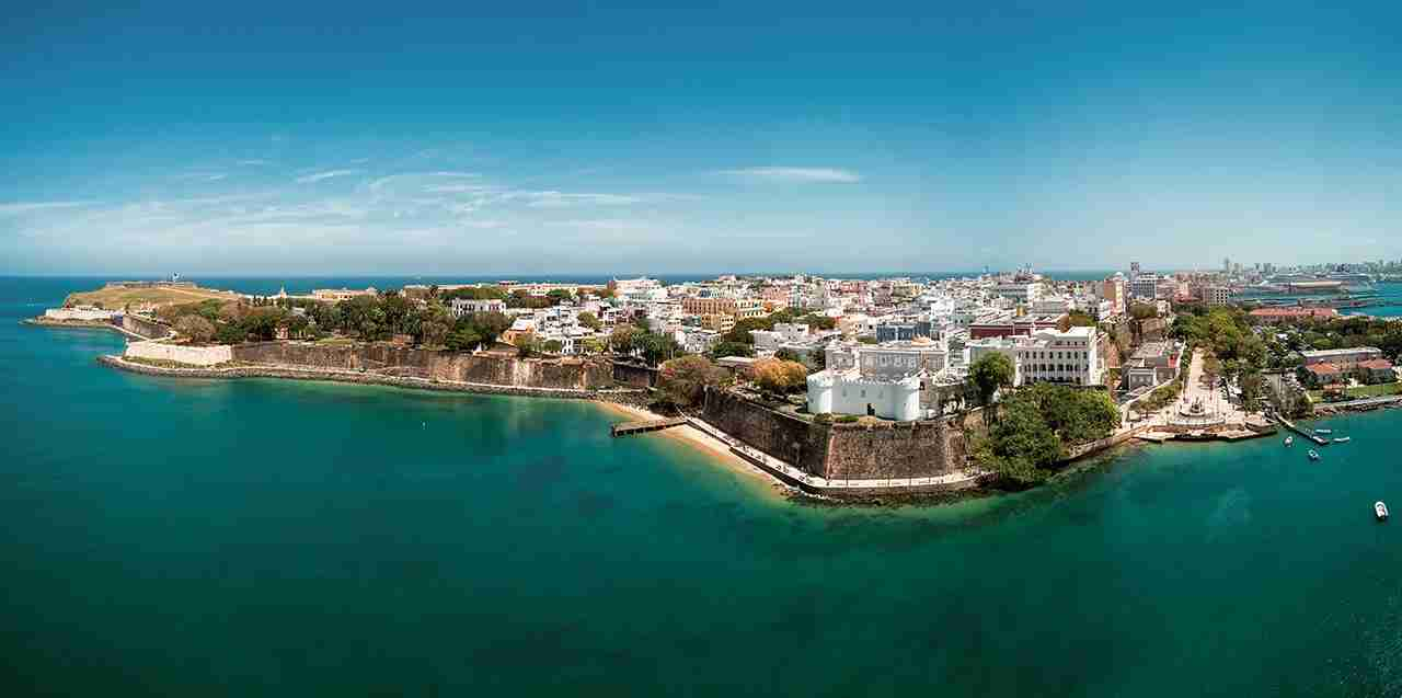 Aerial view over San Juan Old Town, Puerto Rico, a Unesco World Heritage Site. (Photo by John and Tina Reid/Getty Images)
