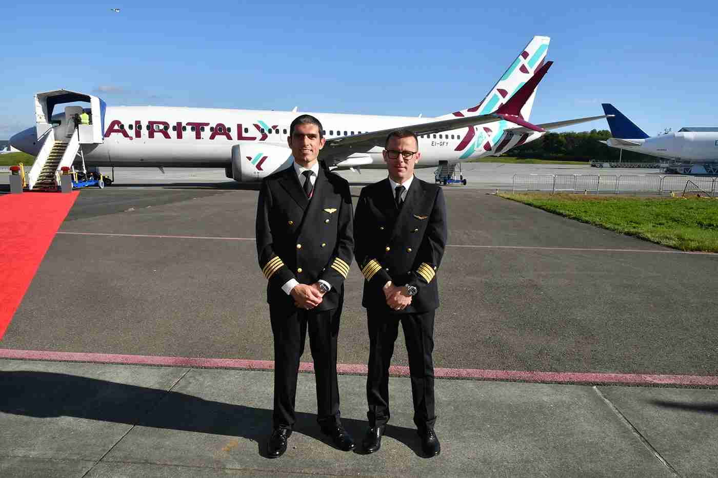 Air Italy Captains Criscuolo (L) and Massaro were clearly proud of their new charge. The transition to the MAX from current 737 models is quick and seamless, they said.