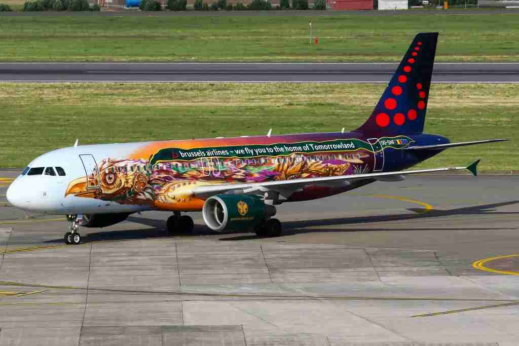 The Brussels Airlines A320 Tomorrowland-colored aircraft arriving back from Spain at Brussels airport. (Photo by C. V. Grinsven/SOPA Images/LightRocket via Getty Images)