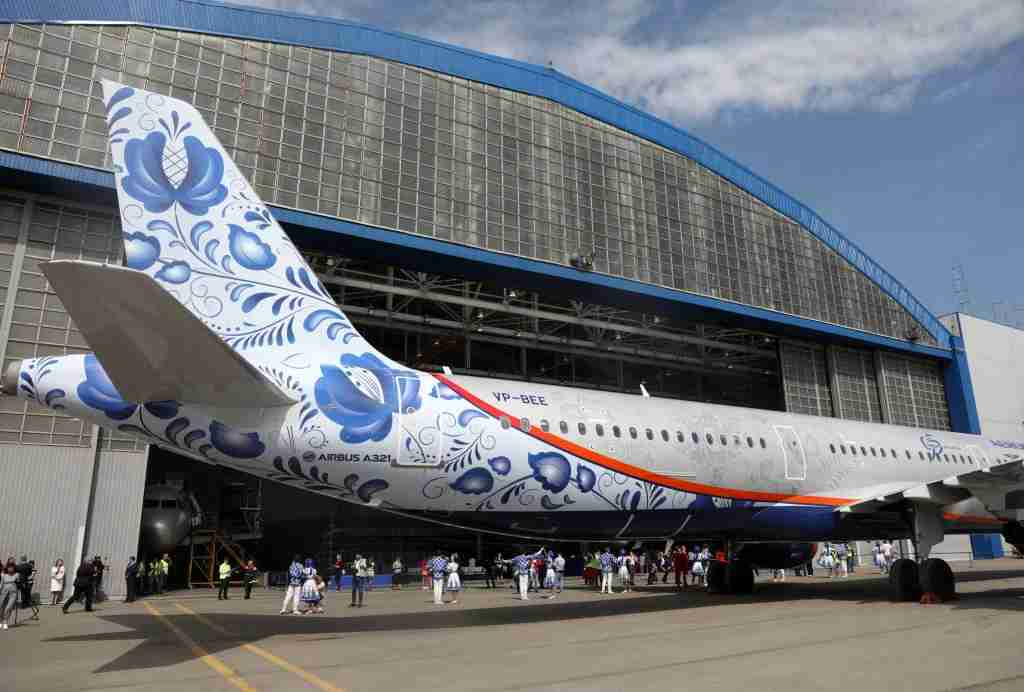 The A321 in special colors being unveiled at Moscow
