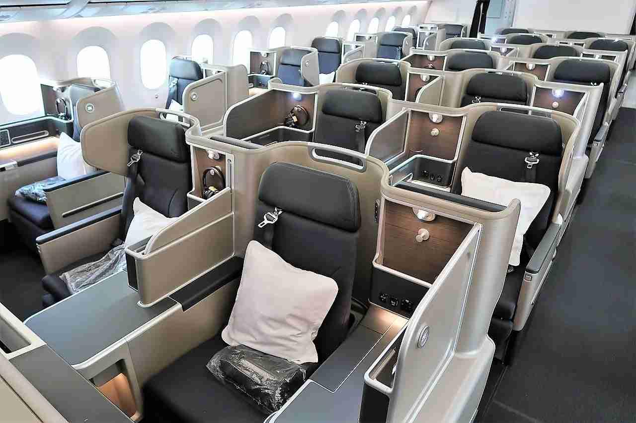 Business class onboard Qantas