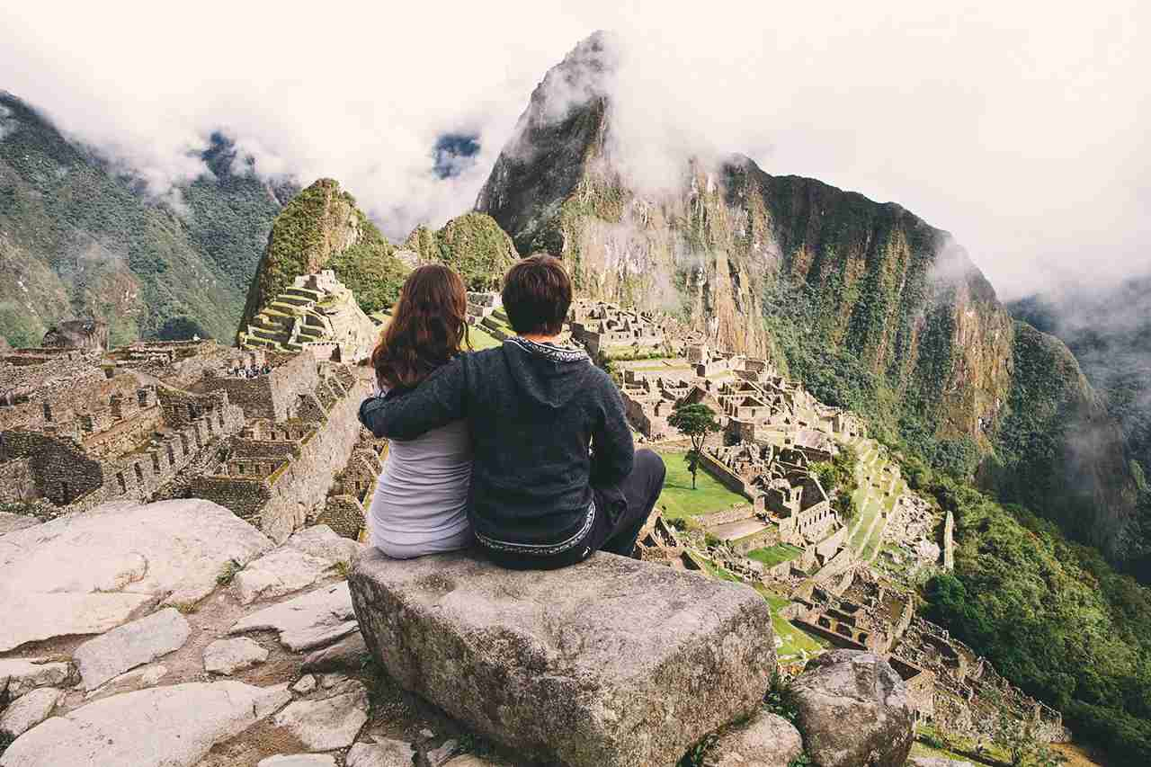 Couple near Machu Picchu. (Photo by dislentev/Getty Images)