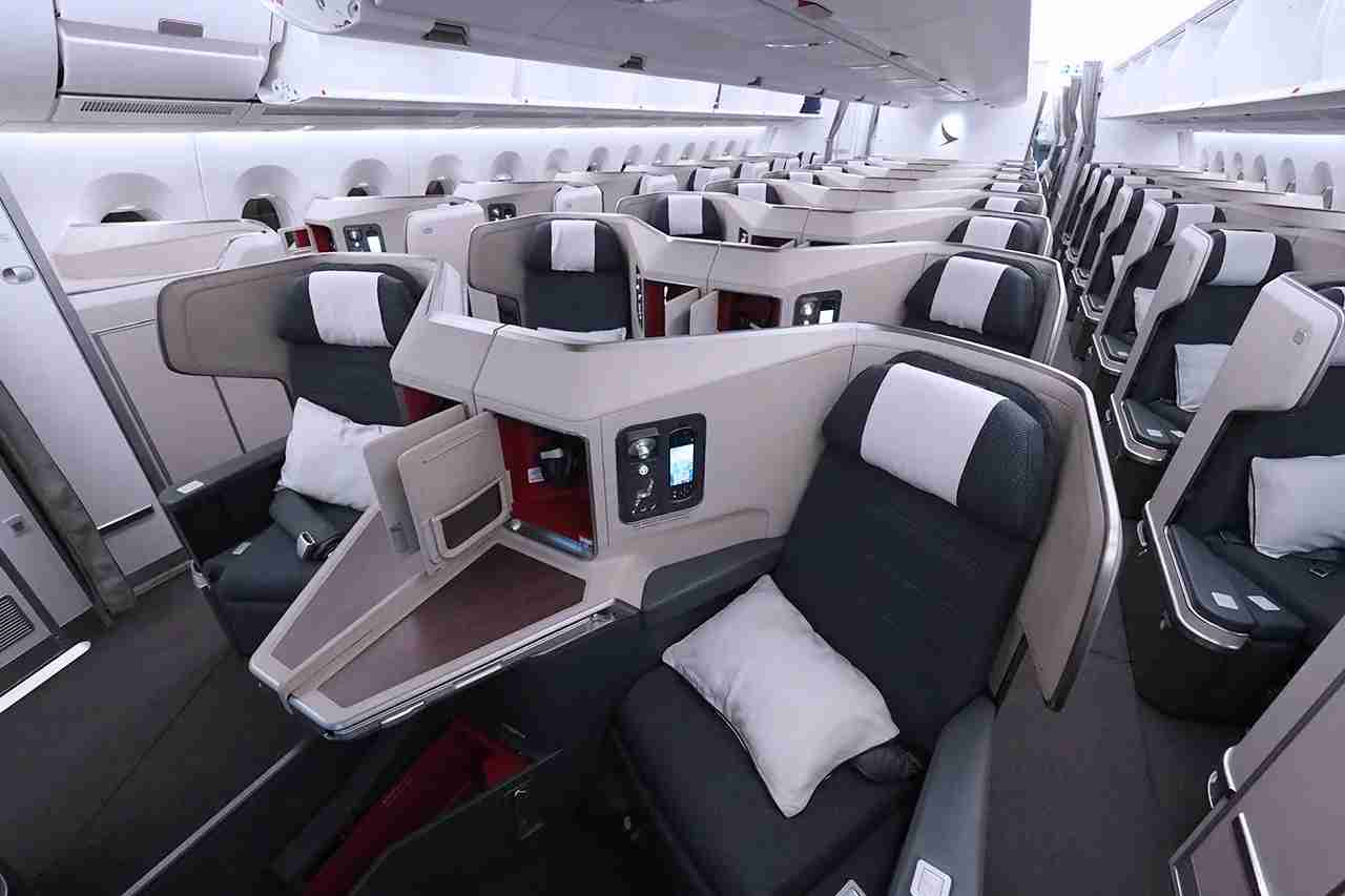Updated business class seating on a Cathay Pacific A350.