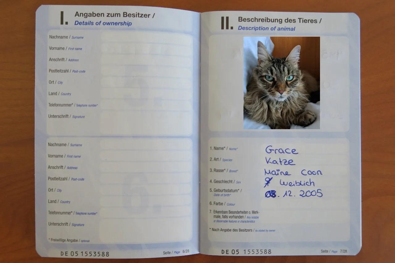 Cat Pet Passport