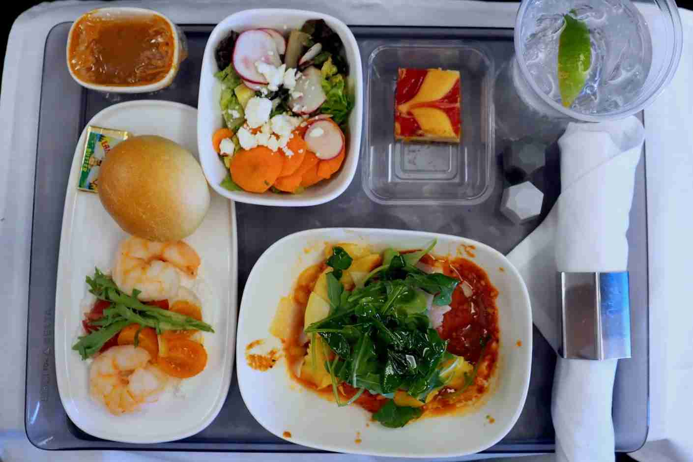 Plane time is the right time for a family meal.