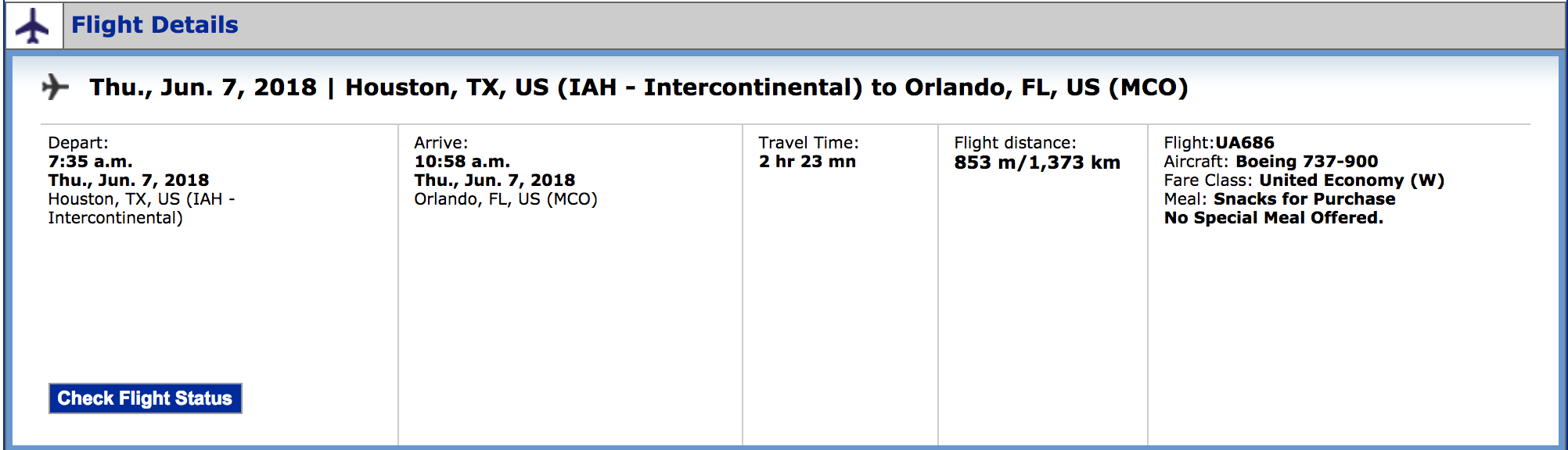 Review: United 737 MAX 9 Economy Plus From Houston to Orlando