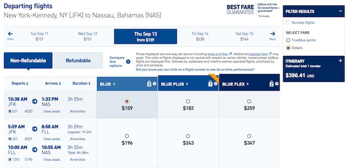 Paid flights to The Bahamas on JetBlue