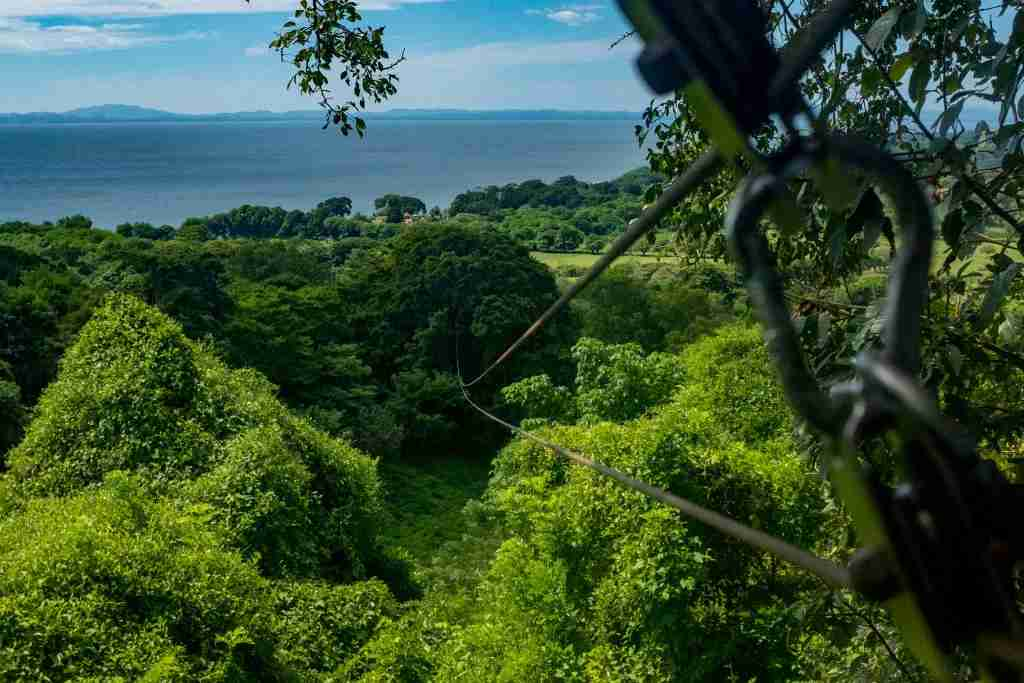 A view of a zip line which is part of the Chico Largo canopy tour on the Island of Ometepe, Nicaragua. (Photo by Epics/Getty Images)