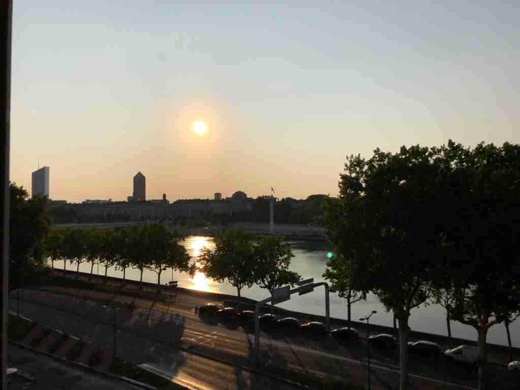 Sunset views of the Rhône from my River-view Superior Room.