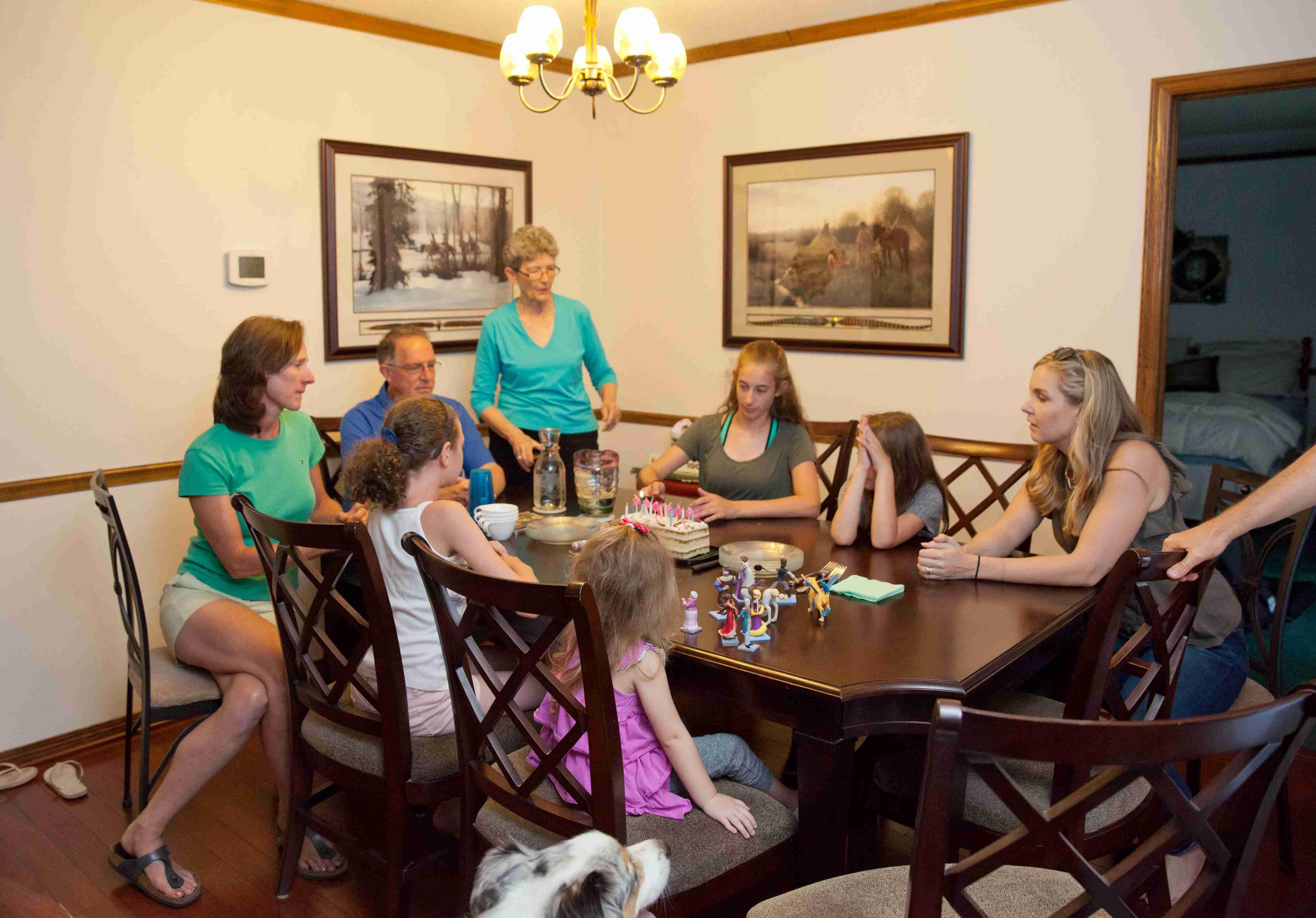 Enjoying dinner with family in Kansas