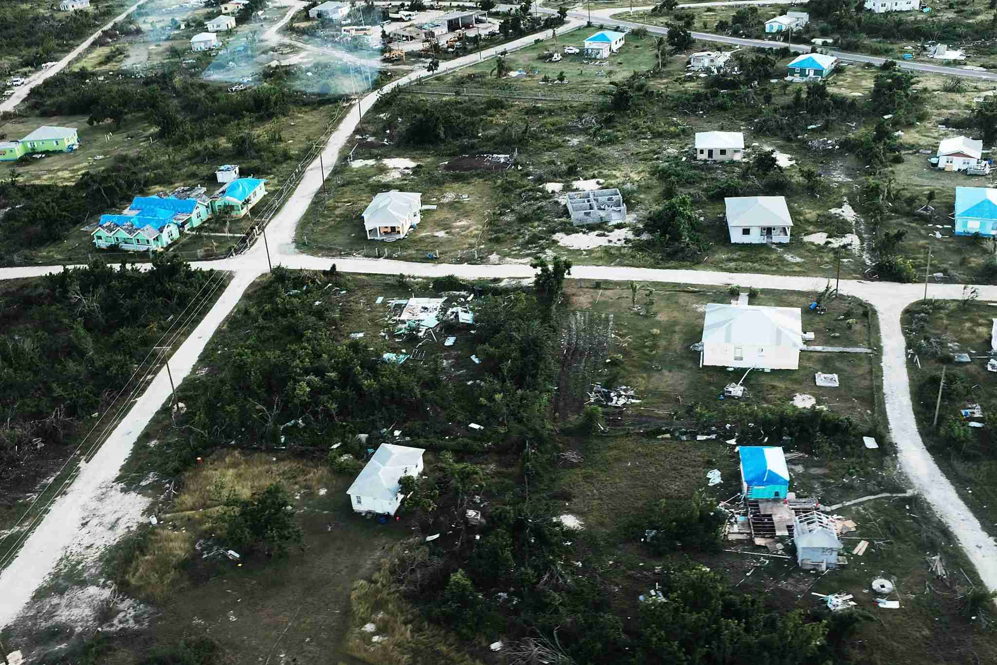 An aerial view of damaged homes on the nearly destroyed island of Barbuda on December 8, 2017 in Cordington, Barbuda. (Photo by Spencer Platt/Getty Images)