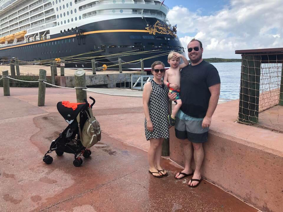 Richard, his wife and their oldest on a cruise