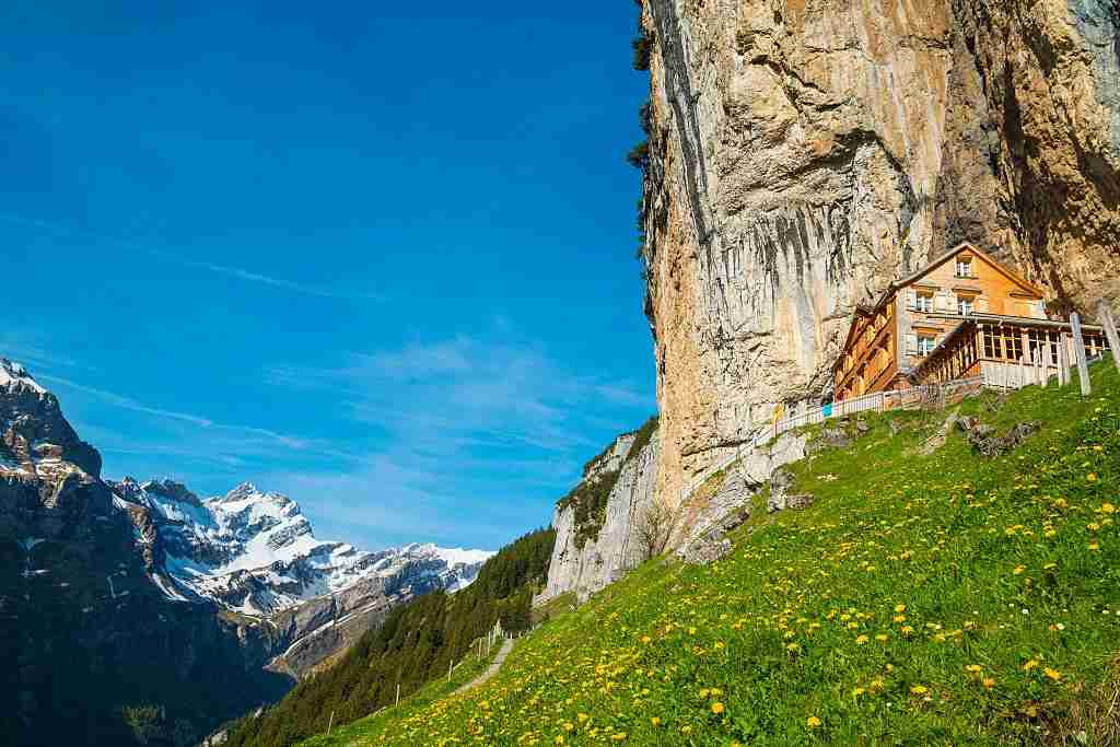 Wildkirchli and Aescher in Appenzell. (Photo by: Prisma Bildagentur/UIG via Getty Images)