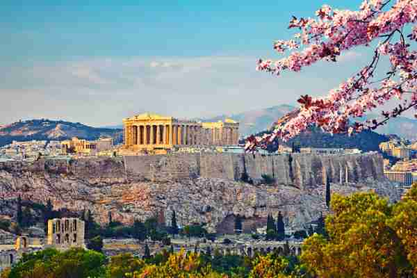 View on Acropolis at sunset in Athens, Greece.