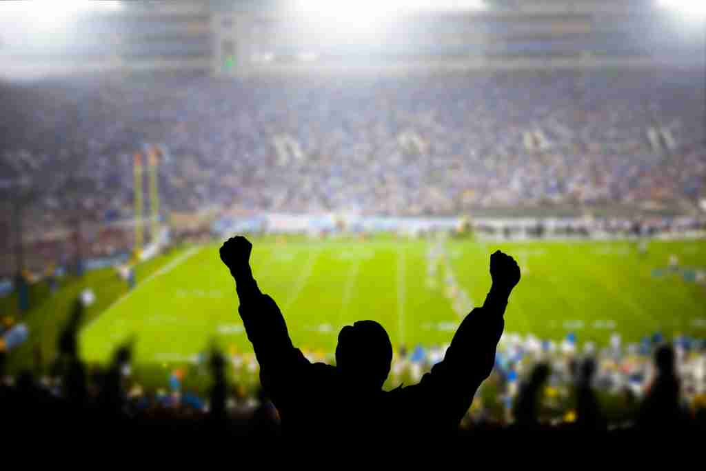 Fans celebrate at a stadium football game. (Photo by adamkaz / Getty Images)