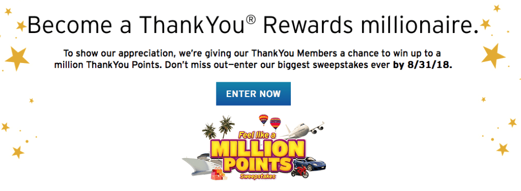 Here Are The Details Now Through August 31 Visit Thankyou Com Sweepstakes To Enter For Your Chance To Win Up To 1 Million Citi Points By Simply Logging In
