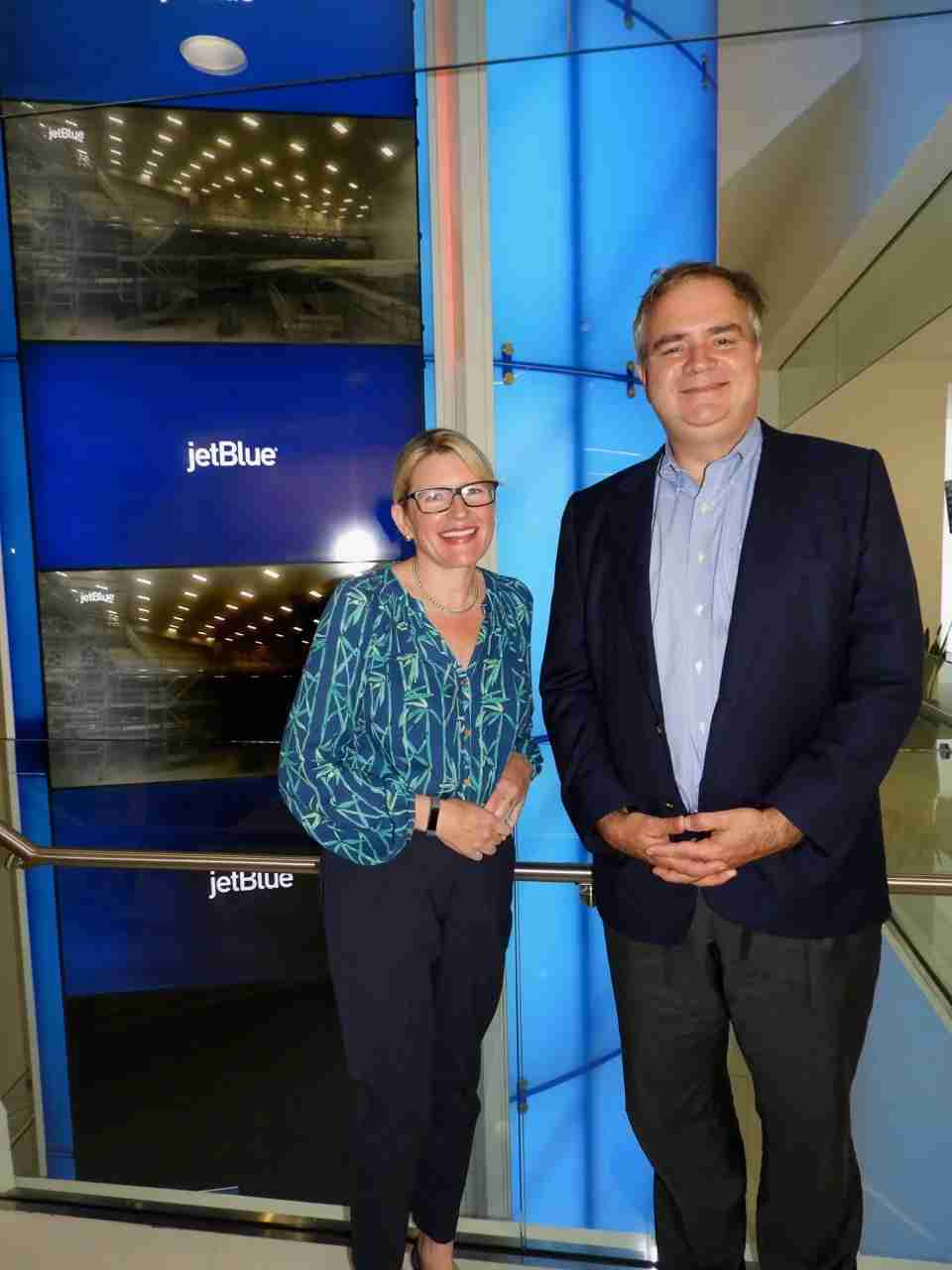 JetBlue COO and President Joanna Geraghty and CEO Robin Hayes at the airline