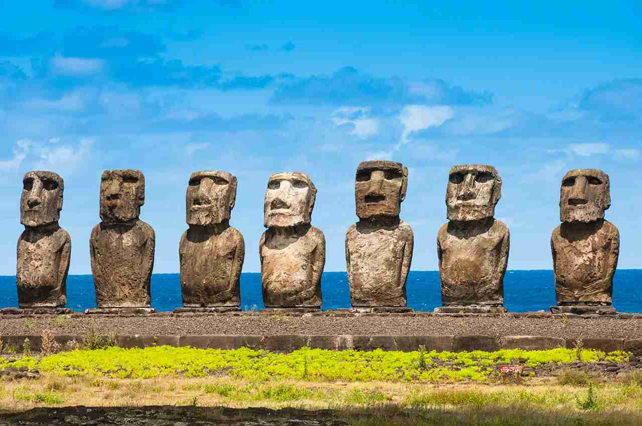 Moais in Ahu Tongariki, Easter island (Chile). (Photo by Getty Images)