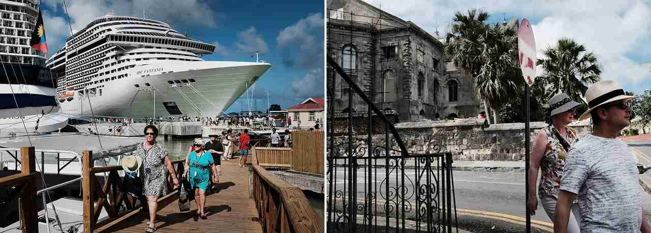 Tourists arrive from a cruise ship in St. John