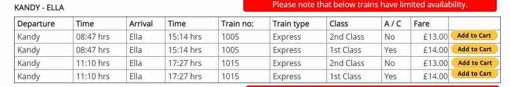 Information and train times provided on the Sri Lanka tours website.