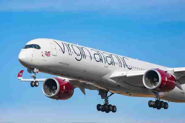 Virgin Atlantic Airways Airbus A350-1000 aircraft as seen on final approach arriving and landing at JFK John F. Kennedy International Airport in NYC, New York, USA. The airplane has the registration G-VPOP, the name Mamma Mia, 2x RR Jet engines. Virgin Atlantic Airways VS VIR is a British Airline Carrier connecting New York City to the London Gatwick, London Heathrow and Manchester UK. (Photo by Nicolas Economou/NurPhoto via Getty Images)