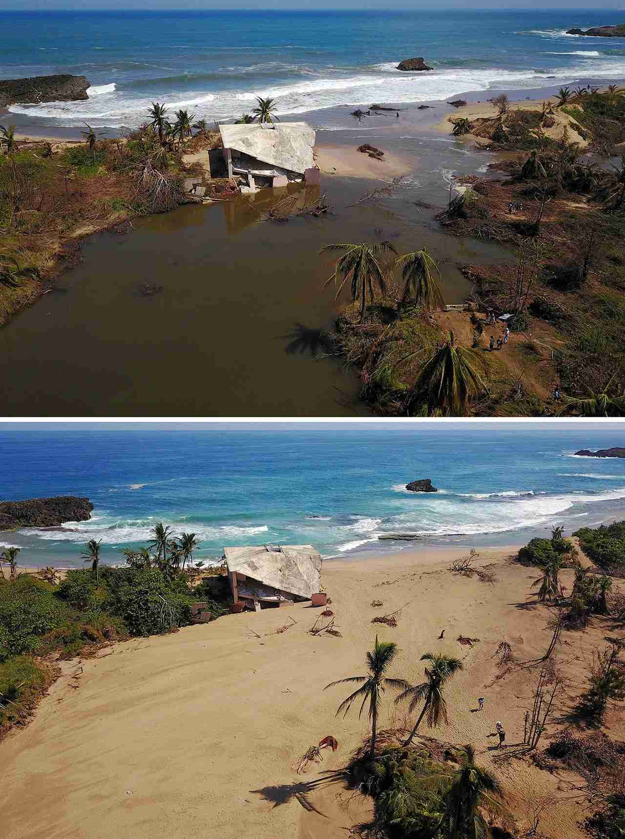 A house that was washed away by heavy surf during the passing of Hurricane Maria is seen in Manati, Puerto Rico on October 6, 2017 and (below) A house that was washed away by heavy surf during the passing of Hurricane Maria is seen six months after the Hurricane affected the island in Manati, Puerto Rico, on March 18, 2018. (Photo by RICARDO ARDUENGO/AFP/Getty Images)