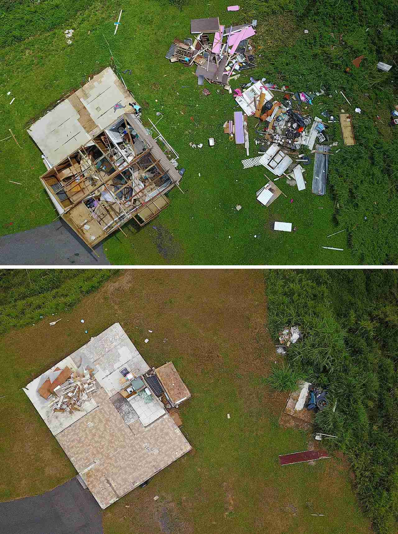 A house destroyed by hurricane winds in Barranquitas, southwest of San Juan, Puerto Rico, on September 24, 2017 following the passage of Hurricane Maria and (below) a house that was destroyed by hurricane winds is demolished after the family living in the house were unable to fix it six months after the passing of Hurricane Maria in Barranquitas, Puerto Rico, on March 18, 2018. (Photo by RICARDO ARDUENGO/AFP/Getty Images)