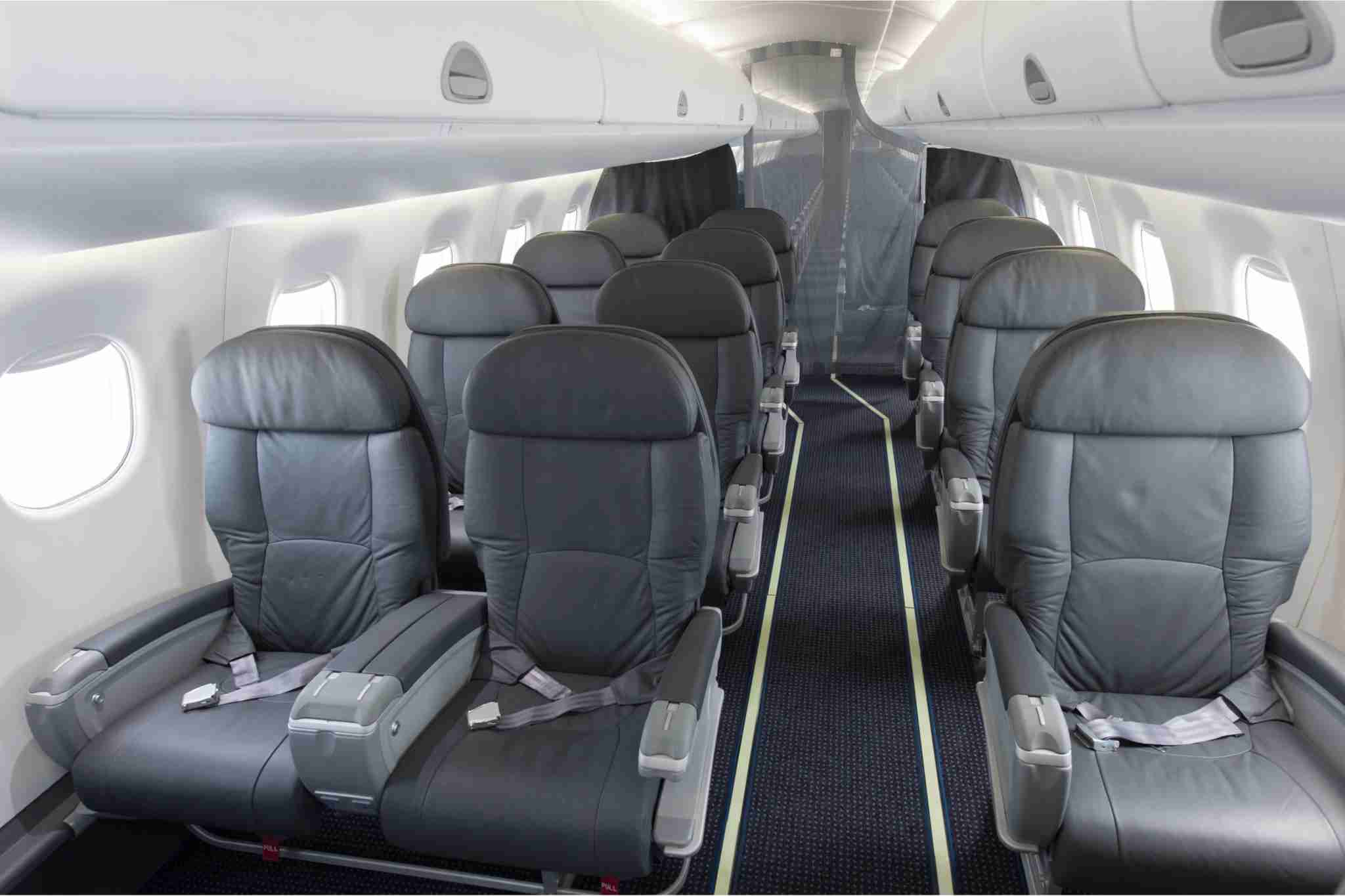 A look inside an American Airlines first class cabin.