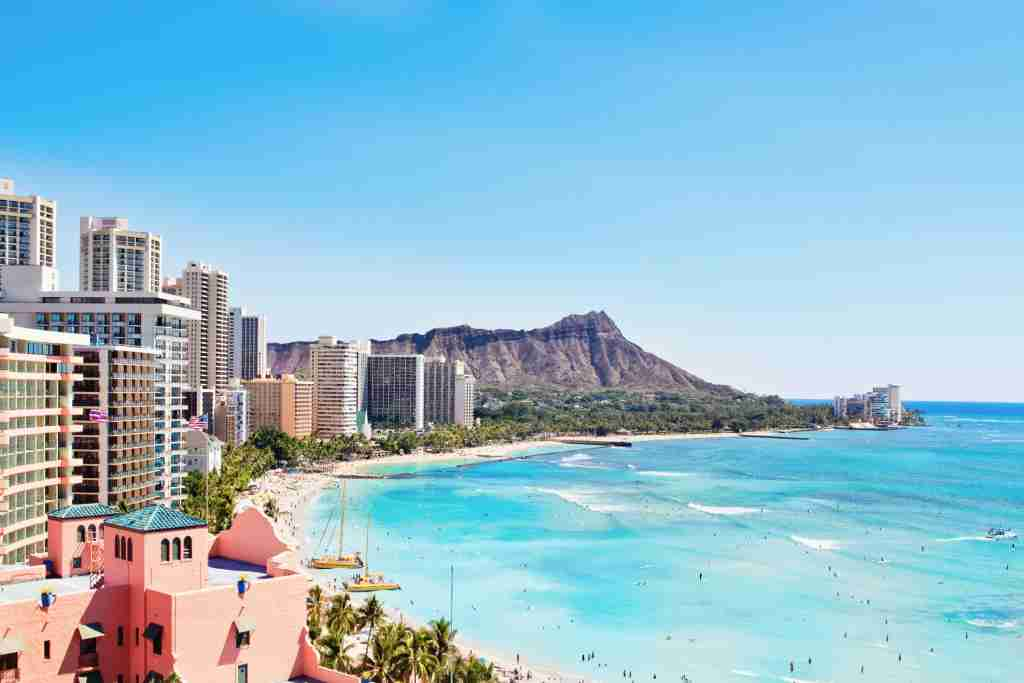 travel destination Waikiki Beach and Diamond Head resorts in Oahu, Hawaii, USA