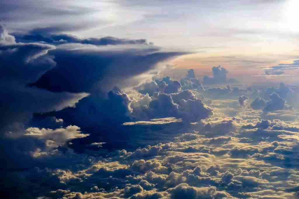 MANDALAY, MYANMAR - 2017/11/16: Aerial view on thunderstorm clouds from an airplane. (Photo by Frank Bienewald/LightRocket via Getty Images)