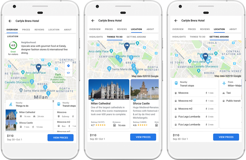 Google will show you if your hotel is well-positioned for nearby fun (Photo courtesy of Google)