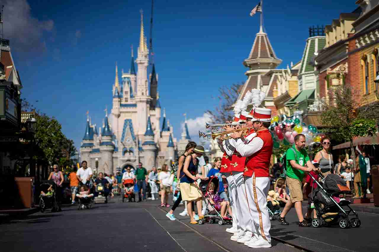 The Main Street Philharmonic entertains guests at the Magic Kingdom, Walt Disney World, Florida. (Photo by Cory Disbrow / Getty Images)