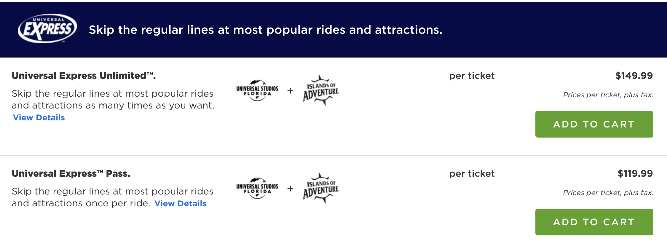 Universal Express Pass sticker shock - those prices are per person