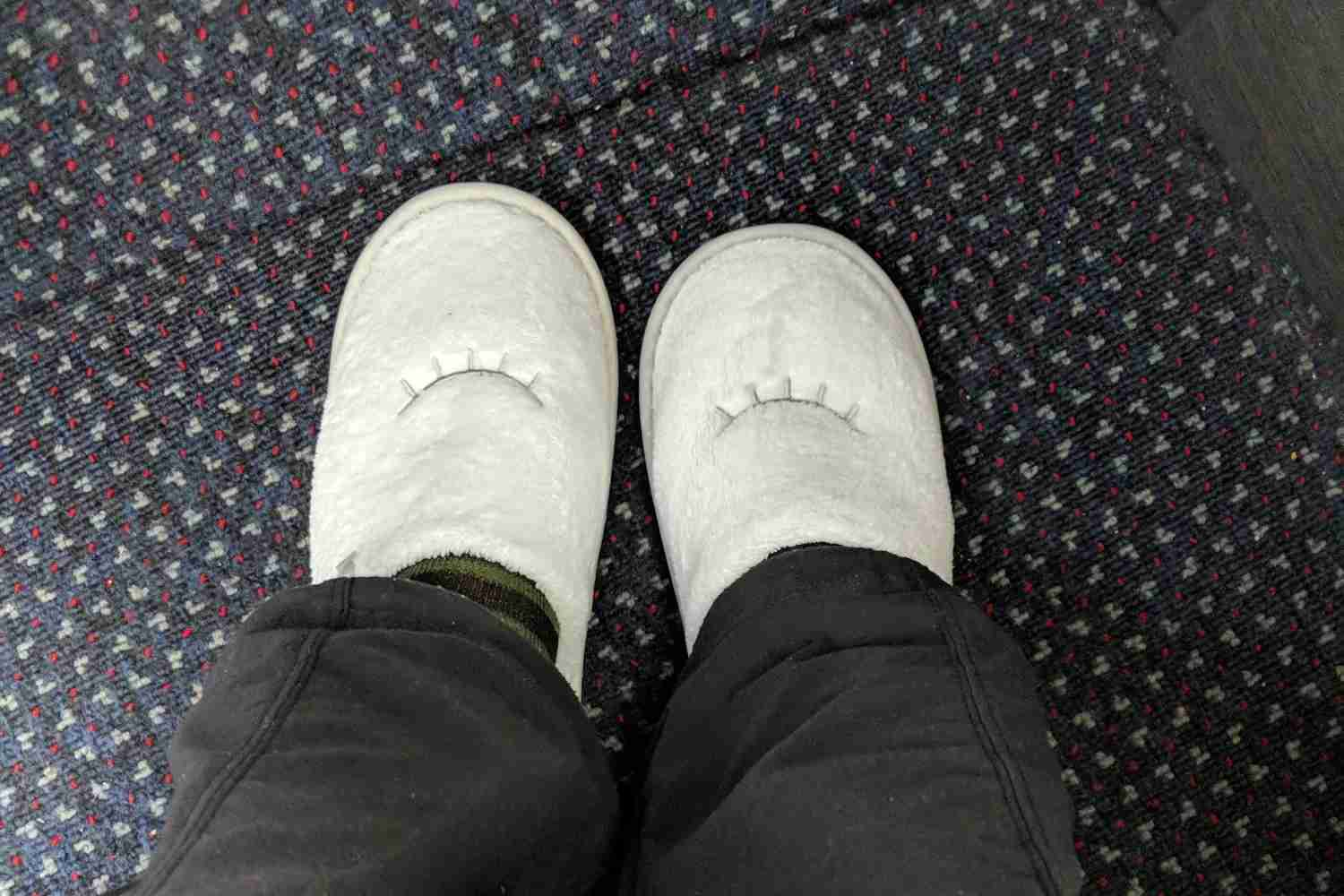 Casper slippers on on another flight.