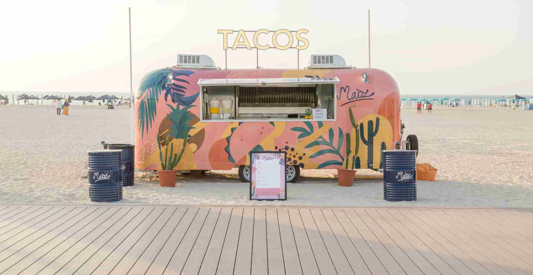 Stop for tacos on the beach at Maiz. Photo courtesy of Maiz Tacos.