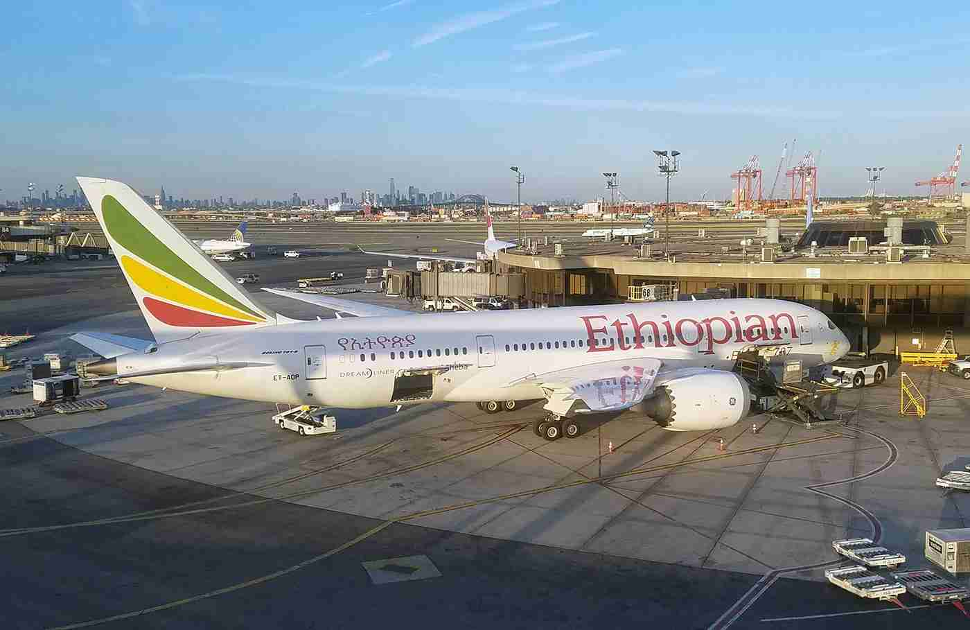 An Ethiopian Airlines Boeing 787-8 at Newark airport, on July 20, 2018 (Photo by Alberto Riva / TPG)