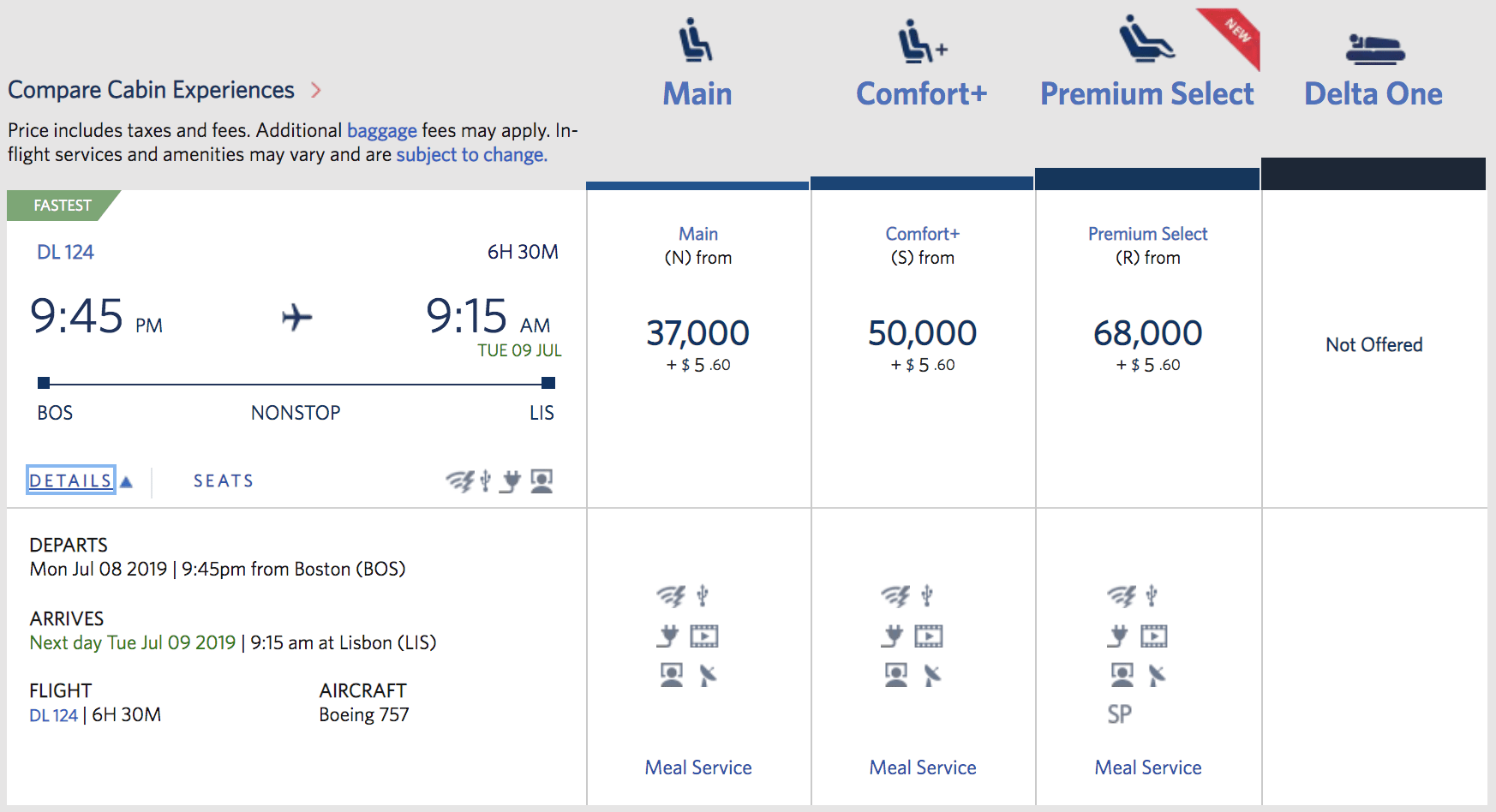 If you spot a 757 flight that tops out at Premium Select, that