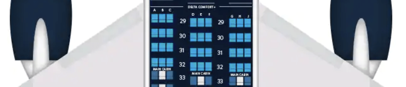 Delta Comfort+ seating on a Boeing 777